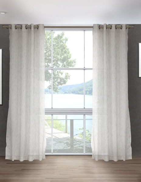 LITEOUT - STRUCTURE STRIPE SHEER CURTAIN PANEL (PAIR)