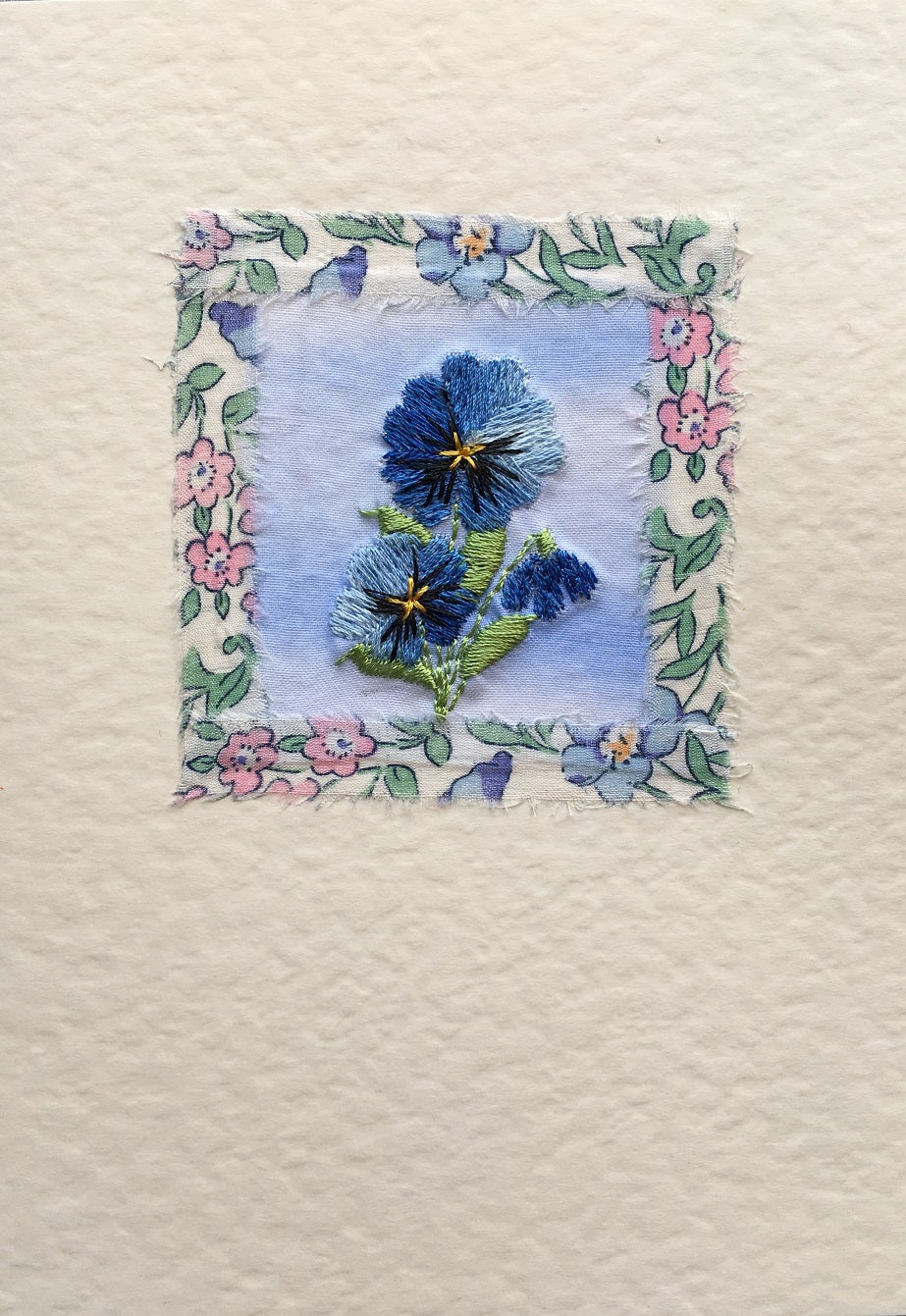 Blue pansy with Liberty print border