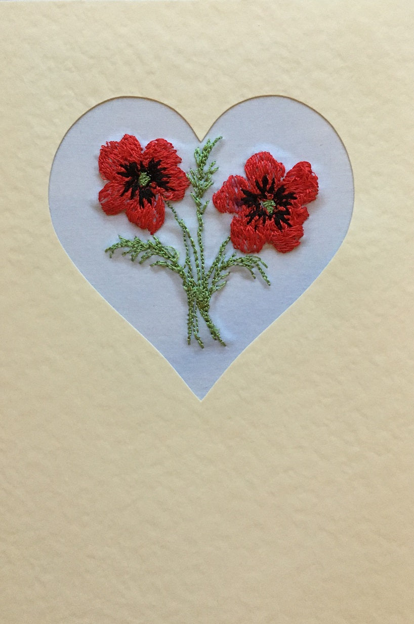 Poppy heart embroidered card