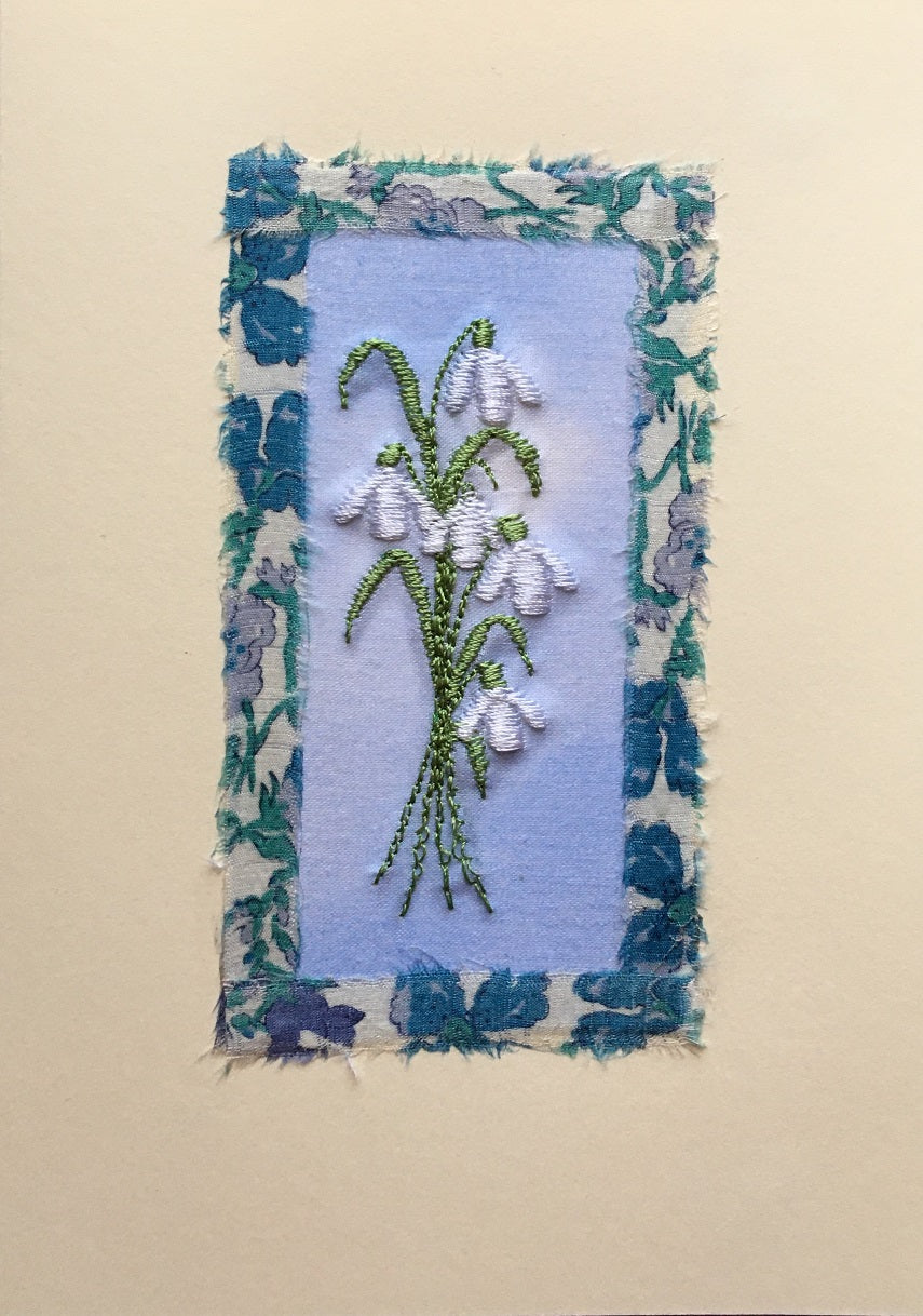 Snowdrops embroidered card with Liberty print border