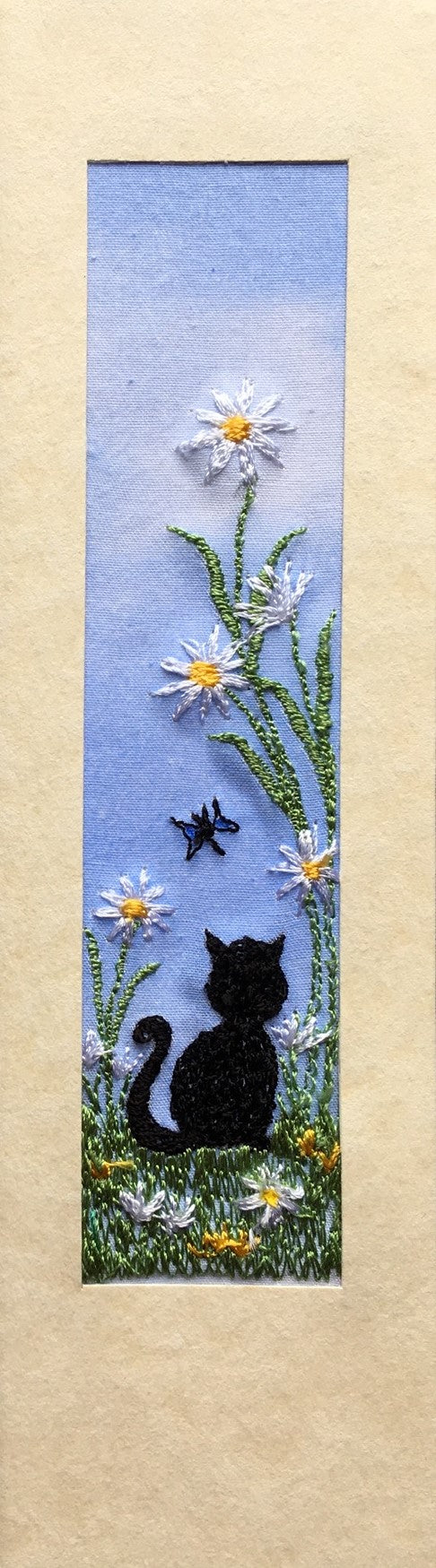 Black cat with daisies and butterfly embroidered bookmark card