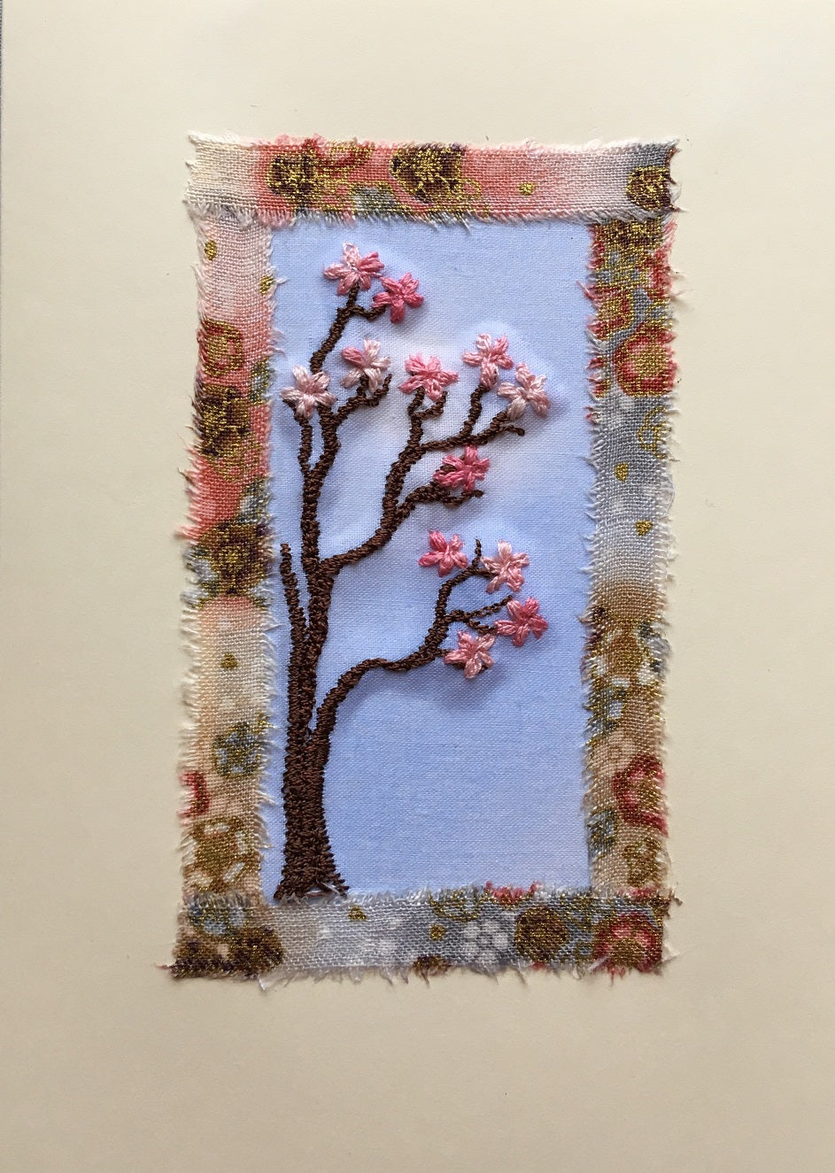 Pink blossom embroidered card with oriental print border