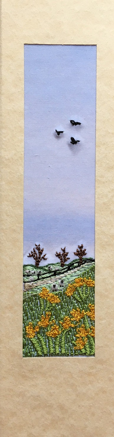 Daffodils with sheep landscape bookmark card