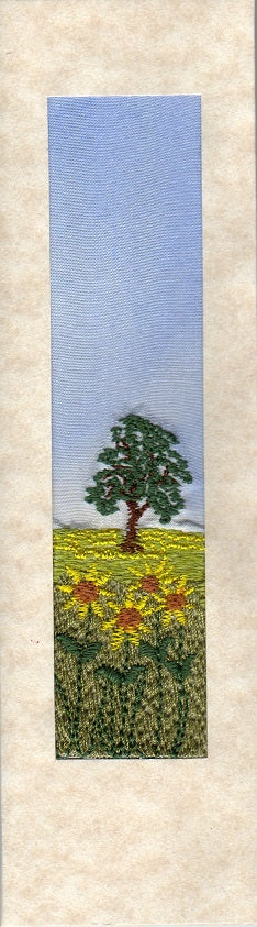 Sunflower landscape embroidered bookmark card