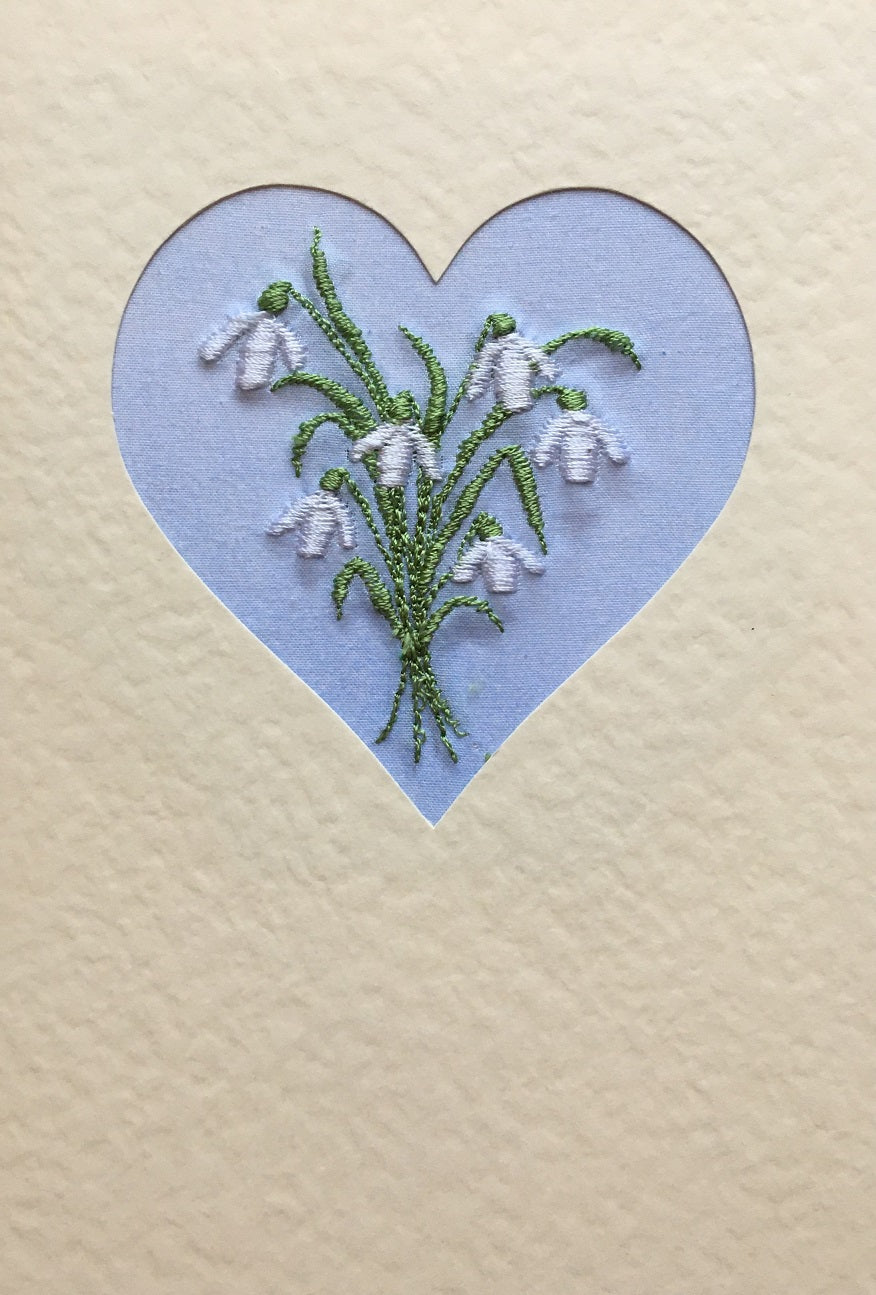 Snowdrop heart embroidered card