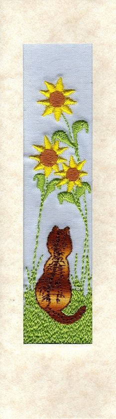 Tabby cat with sunflowers embroidered bookmark card