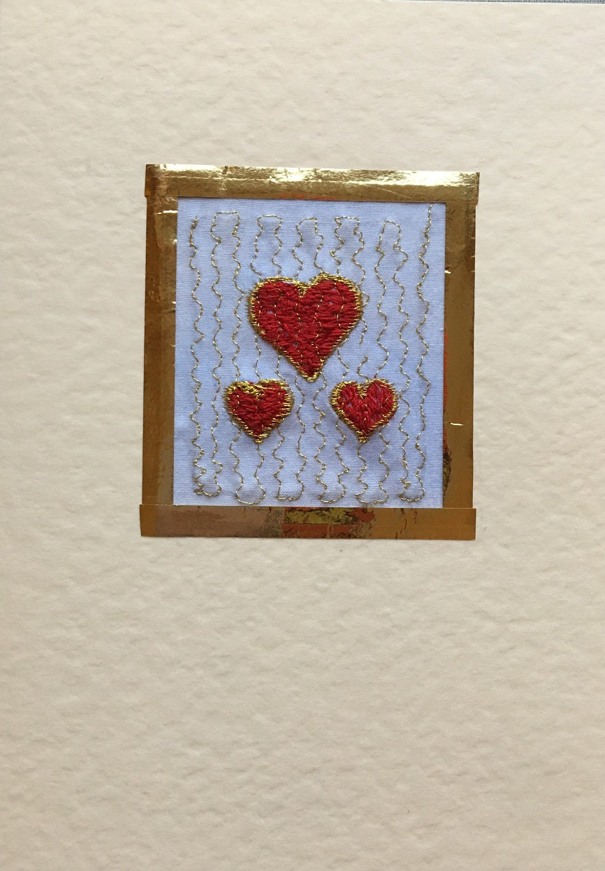 Hearts embroidered card