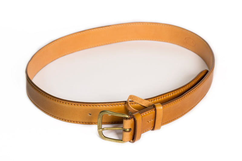 Smooth calf leather belt - Light Leather