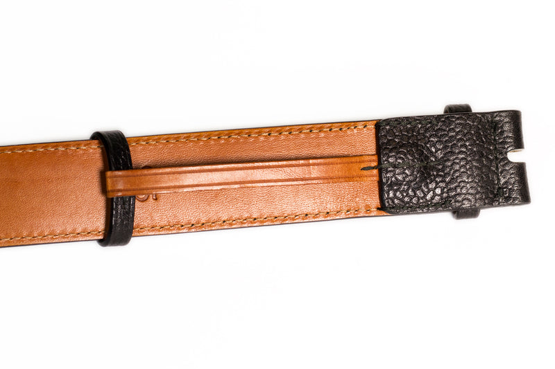 Grain calf leather belt - Black