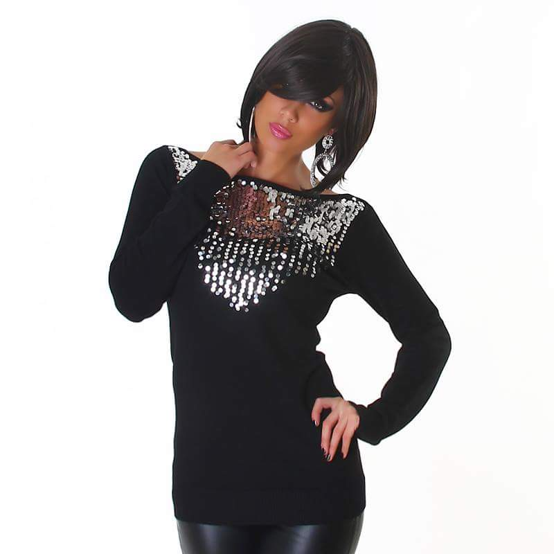 Black With Silver Detail Sweater