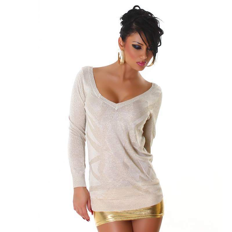 Beige V-Neck Sweater