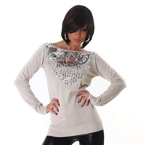 Beige With Silver Detail Sweater