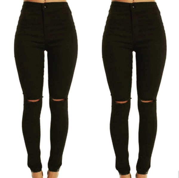 Black High Rise Jeans by Wakee
