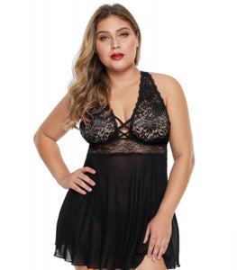 Women's Black Lace Plus Size Babydoll Lingerie Set