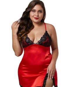 Women's Red with Black Lace Plus Size Chemise Lingerie