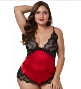 Women's Lace Silky Satin Plus Size Red Chemise Lingerie Set