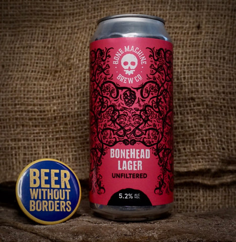 Bonehead Lager (Unfiltered), Bone Machine, Yorkshire, England (5.2%) 440ML