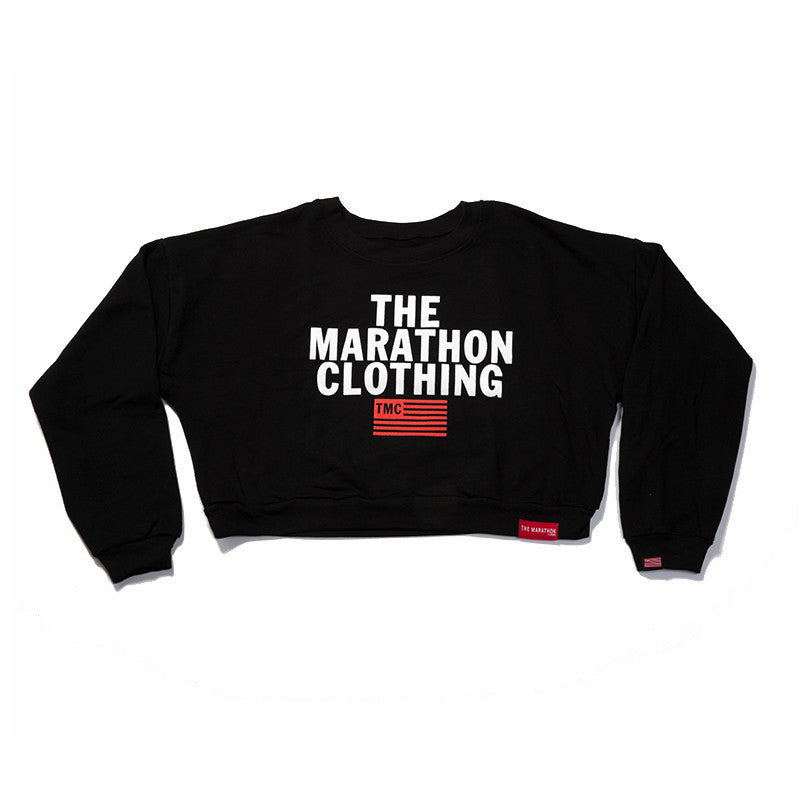 5083df2064 TMC Stacked Logo Croptop - Black – The Marathon Clothing