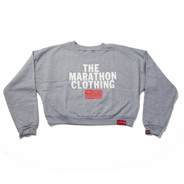 1878ca3392 TMC Stacked Logo Croptop - Grey – The Marathon Clothing