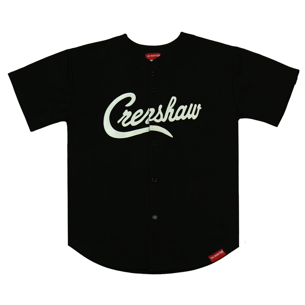 Crenshaw Baseball Jersey - Solid Black/White