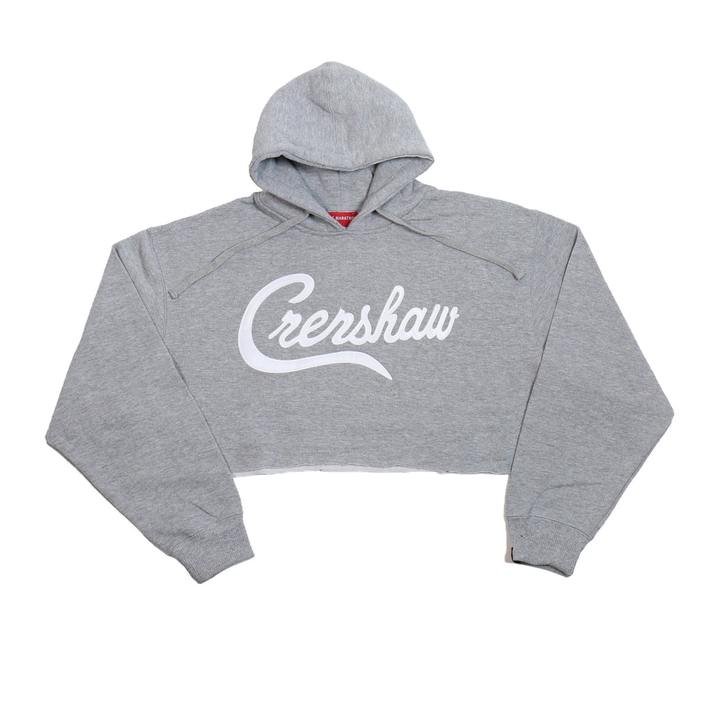Crenshaw Crop Hoodie - Heather/White