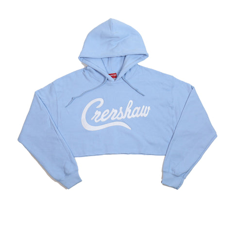 Crenshaw Crop Hoodie - Light Blue/White