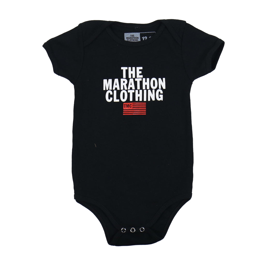 Stacked Logo Onesie - Black
