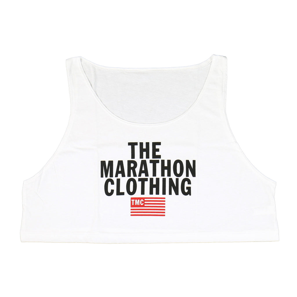 TMC Stacked Logo Crop Tank - White