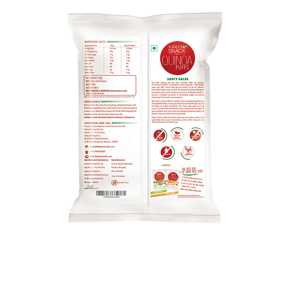 tomato quinoa puffs (50 gm) - The Green Snack Co