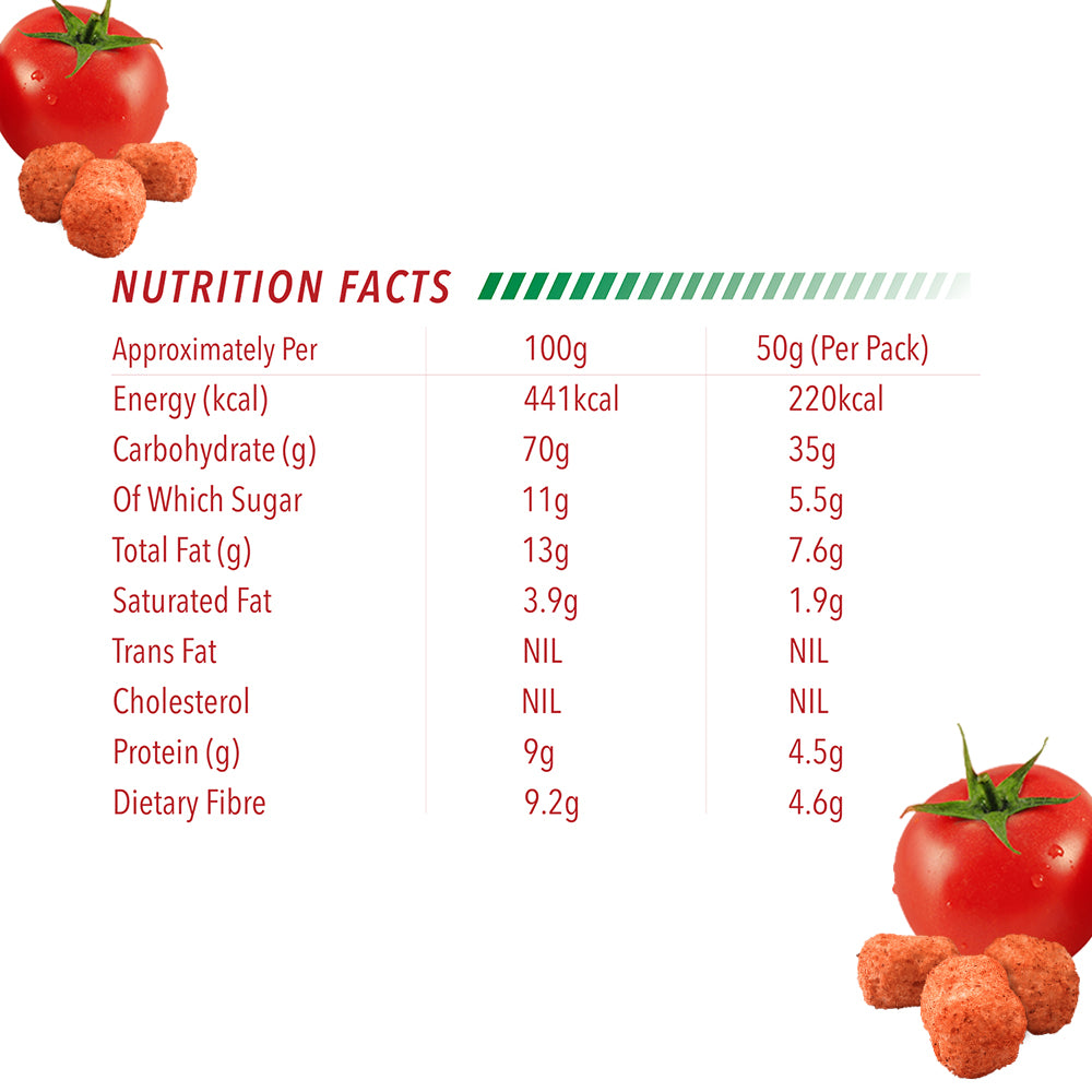 tomato quinoa puffs (50 gm) - Nutrition facts