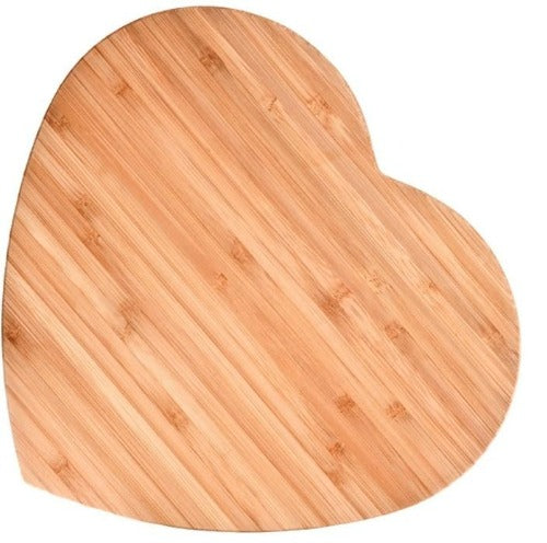 large heart-shaped bamboo board, 12 1/2 x 11 1/2