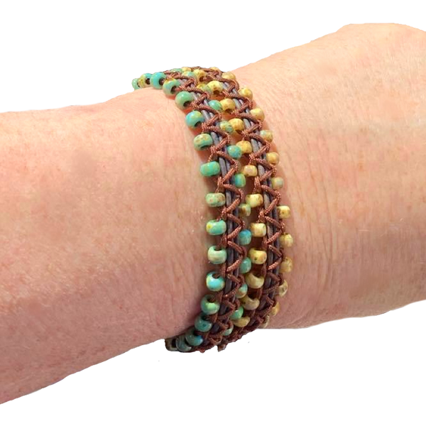 Turquoise and Tan Macrame Double Wrap Bracelet