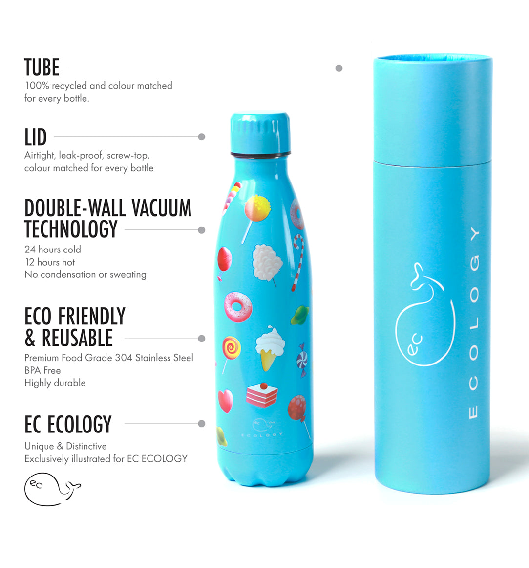 CANDYLAND EC Ecology 500ml Reusable Drinks Bottle - BPA Free Stainless Steel - Double Walled Vacuum Insulated