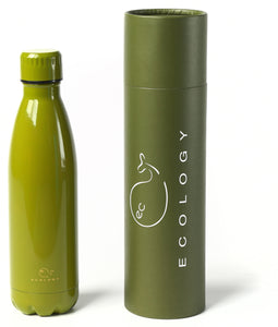 Khaki EC Ecology 500ml Reusable Drinks Bottle - BPA Free Stainless Steel - Double Walled Vacuum Insulated
