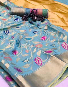 Orignal Blue Yellow colour Silk Saree