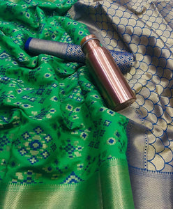 Orignal Banarasi Green colour Silk Saree