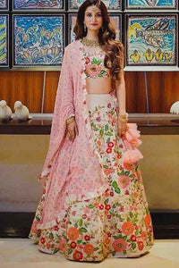 Outstanding Light Pink Color Cotton Silk Lehenga Choli