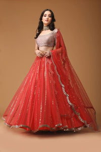 CORAL BLING LINEAR SEQUIN DROP LEHENGA WITH SEQUINED BLOUSE