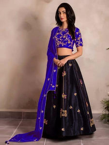 Innovative Blue Color Tapeta Silk Designer Lehenga Choli