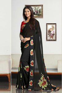 Bold Black Color with floral print Designer silk Saree