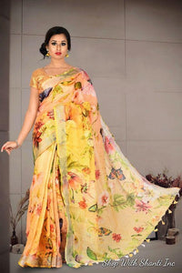 Beautiful Yellow Color Designer silk Saree