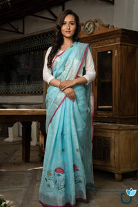 EXCELLENT SKY-BLUE COLOR LINEN DESIGNER SAREE