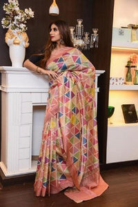 Gorgeous Multi Color Linen Designer Saree