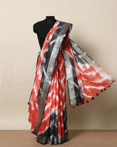 Party Wear Red with Black border color Linen Designer Saree