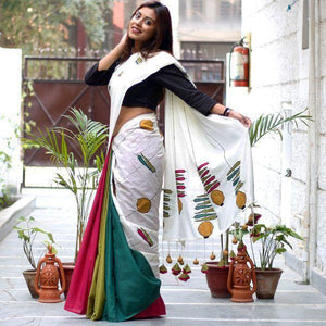 AMAZING MULTI COLOR LINEN DESIGNER SAREE