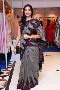 GLORIOUS  GREY AND RED COLORLINEN DESIGNER SAREE