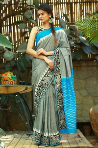 Greay And Sky Blue color Party wear  Linen Digital Printed Sari