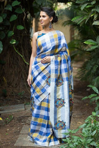 Blue Chexes Party wear Linen Digital Printed Sari