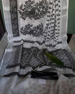 BLACK AND WHITE  COLOUR DESIGNER LINEN PRINTED SAREE