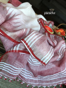 RED AND WHITE LINEN DIGITAL PRINTED SAREE